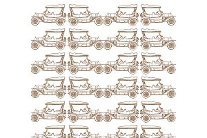 Seamless pattern of old vintage car