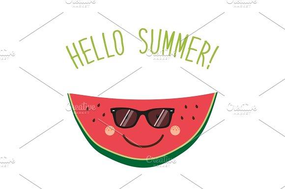 Cute card Hello summer as funny hand drawn cartoon character of watermelon ~ ...