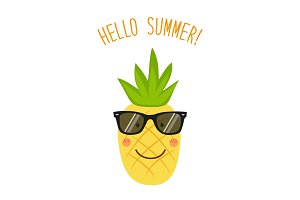 Cute card Hello summer as funny hand drawn cartoon character of pineapple