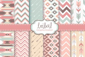 12 Tribal Digital Scrapbook Papers