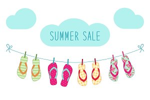 Cute colorful summer banner with flip flops hanging on the rope