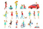 Women And Girls Different Lifestyle Activities Set