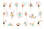Rhythmic Gymnasts Training With Different Apparatus
