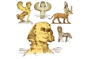 egyptian sphinx and other fantastic creatures, mythology symbols of ancient civilisations, centaurus