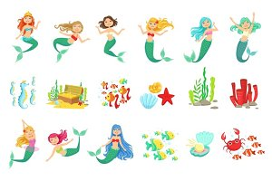 Mermaids And Underwater Nature Stickers