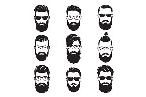 Vector bearded men faces. Part 2.
