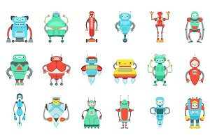 Different Cute Fantastic Robots Characters Set