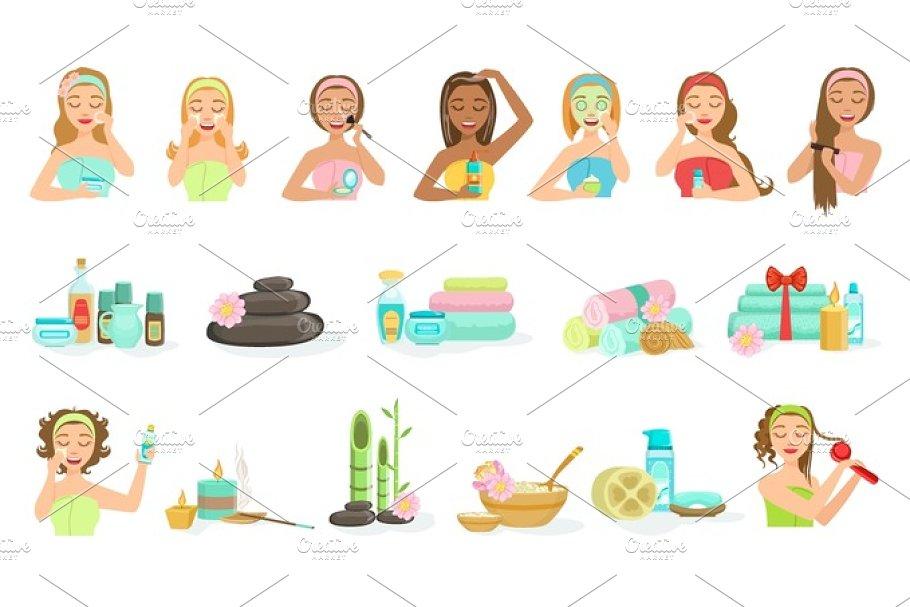Women Doing Beautifying Hair And Skin Spa Procedures