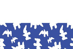Stationery Background with Bird Pattern Borders