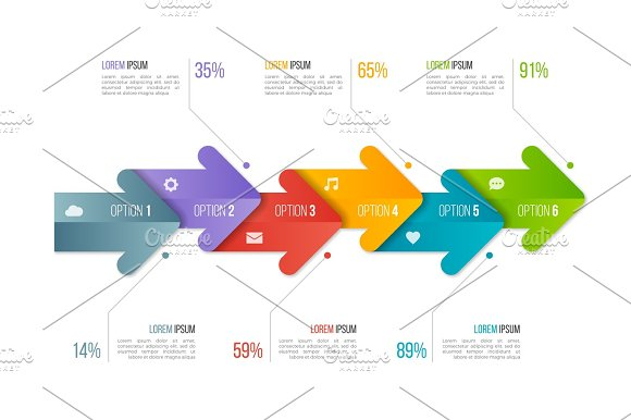 Timeline Chart Infographic Template With Arrows 6 Options