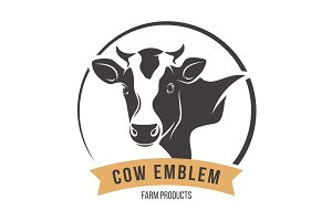 Cow head silhouette emblem label. Vector illustration.