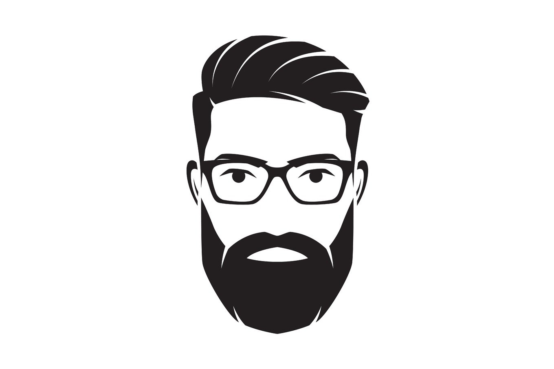 Bearded men face, hipster character. Vector illustration