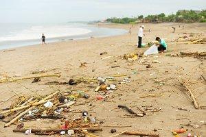 Litter on the beach. Bali