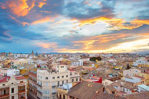 Sunset skyline of Valencia. Spain