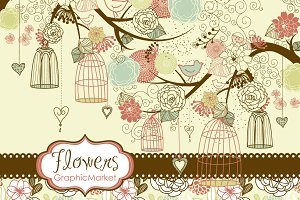 Flower birds clip art, digital paper