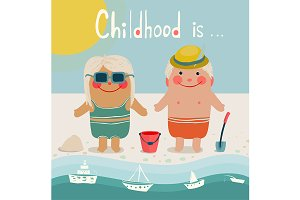 Summer Beach Children Friends