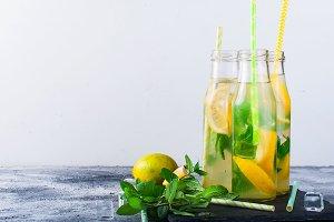 Fresh homemade lemonade in bottles