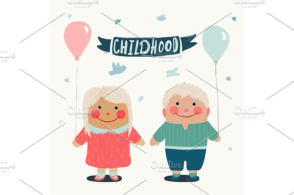 Summer Children Friends with Balloon