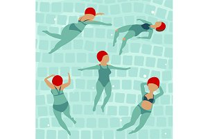 Swimming Women in Pool