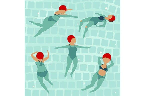 Swimming Women in Pool