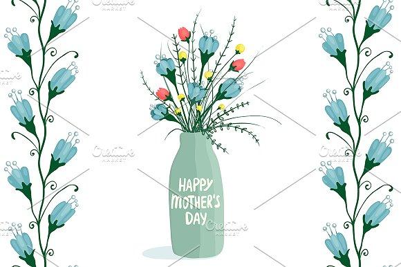 Flowers in Bottle & Seamless Pattern