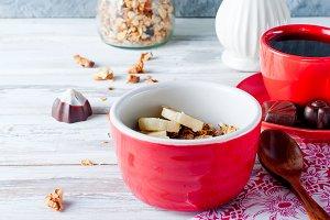 Healthy breackfast with granola