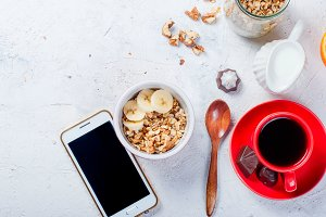Healthy breackfast with granola
