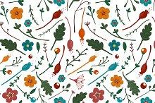Flowers Leaves Seamless Pattern