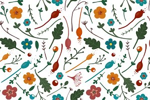 Flowers Leaves Seamless Pattern