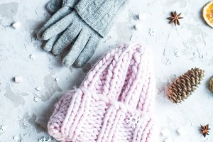 winter hat, gloves and biscuits