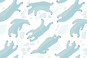 Swimming Polar Bears Seamless Patter