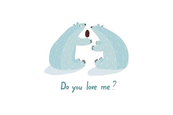 Polar Bears Love and Ice Cream in Illustrations