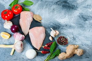 Raw chicken fillet with spices