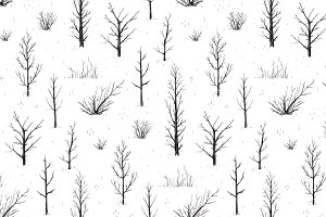 Scratchy Trees Seamless Pattern, Set