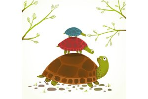 Turtle and Babies Childish Cartoon