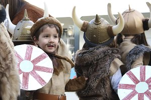 child with a viking costume