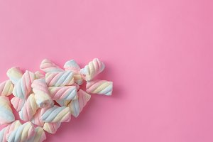 twisted marshmallow on pink
