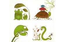 Cartoon Reptile Animals Collection