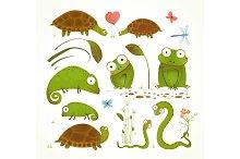 Cartoon Green Reptile Animals Set
