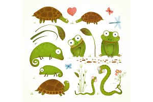 Cartoon Green Reptile Animals Set