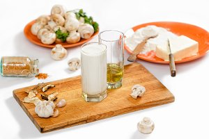Ingredients for cooking champignon cream  soup