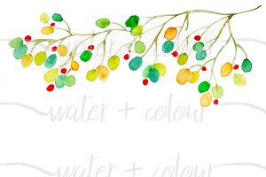 Watercolor Dots Vine border