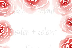 Watercolor roses frame