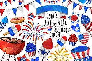 Watercolor July 4th Clipart