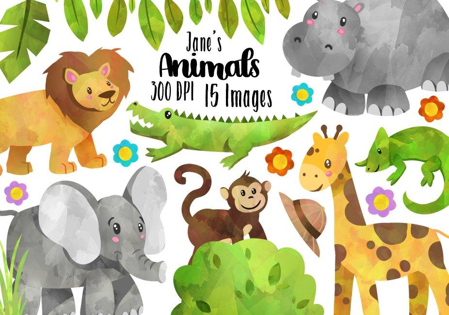 safari animals clipart wild watercolor cute graphics digitalartsi illustrations creative instant african something designer follow cart