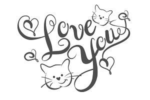 Love You, Lettering Design Vector