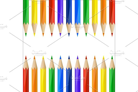Border Made Of Colorful Pencils