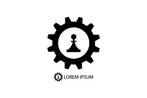 Gear wheel and piece as logo