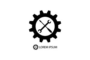 Gear wheel and tools as logo