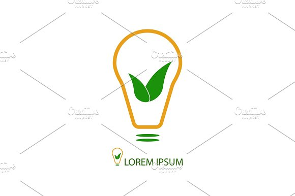 Bulb With Green Leaves As Eco Energy Sign